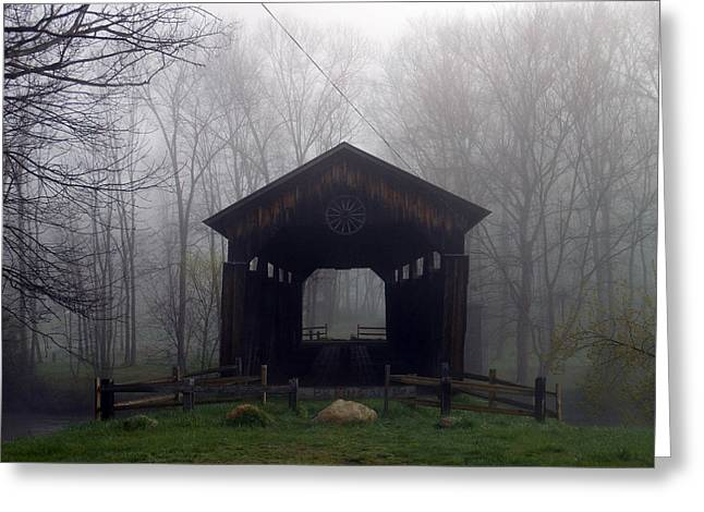 Covered Bridge Greeting Cards - To The Fog Greeting Card by Joseph Wiegand