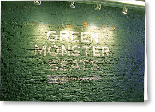 Boston Sports Greeting Cards - To the Green Monster Seats Greeting Card by Barbara McDevitt