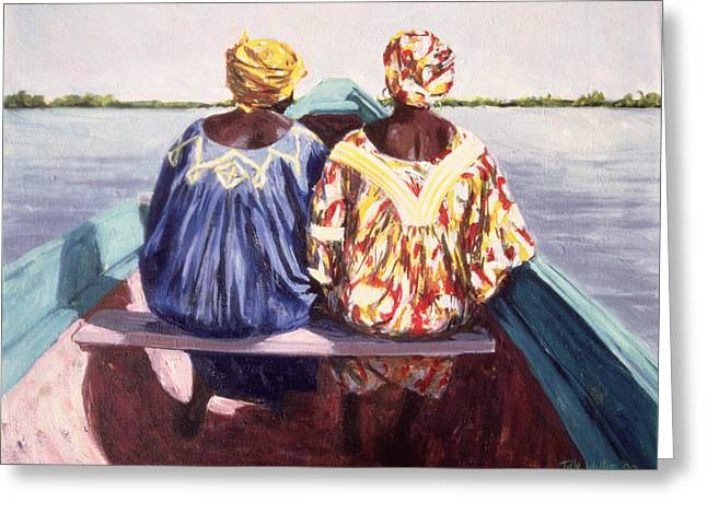 Canoe Photographs Greeting Cards - To The Island, 1998 Oil On Canvas Greeting Card by Tilly Willis