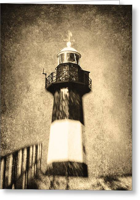 Sepia Digital Art Greeting Cards - The Lighthouse Greeting Card by Wim Lanclus