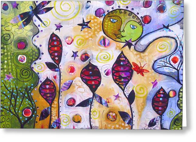 To The Moon And Back Greeting Card by Shannon Crandall