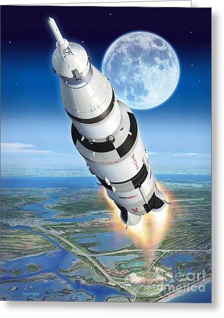 Neil Armstrong Greeting Cards - To The Moon Apollo 11 Greeting Card by Stu Shepherd