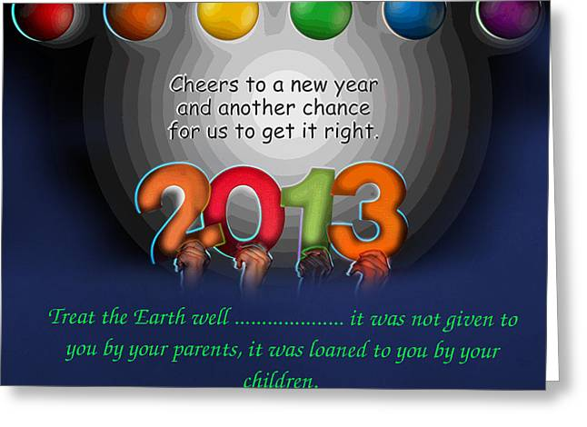 Happy New Year Greeting Cards - ....to The New Year Greeting Card by The Stone Age