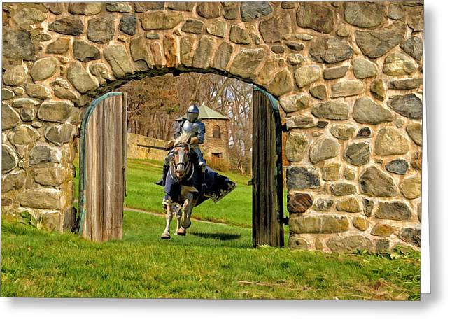 Knight In Shining Armor Greeting Cards - To The Rescue Greeting Card by Liz Mackney