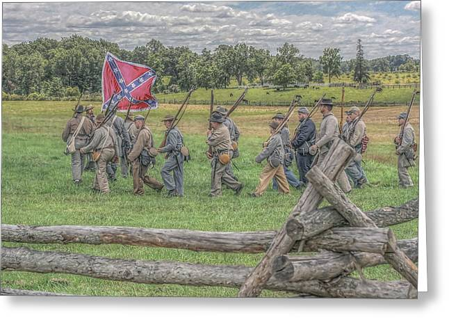 Confederate Flag Greeting Cards - To the Wheatfield and Glory Greeting Card by Randy Steele