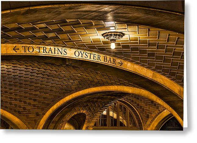 Concourse Greeting Cards - To Trains And Oyster Bar Greeting Card by Susan Candelario