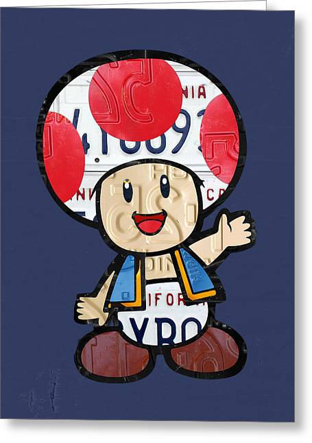 Toad Greeting Cards - Toad from Mario Brothers Nintendo Original Vintage Recycled License Plate Art Portrait Greeting Card by Design Turnpike