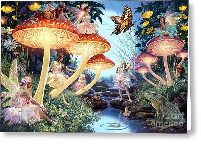 Fairies Greeting Cards - Toadstool Brook Greeting Card by Steve Read