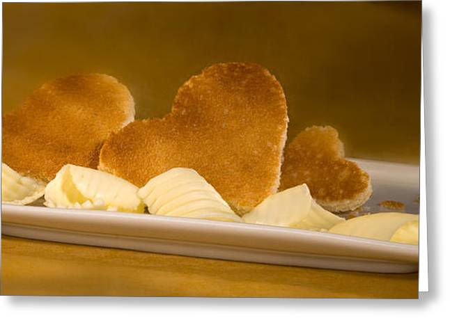 Dairy Foods Greeting Cards - Toast Hearts with Butter Greeting Card by Iris Richardson