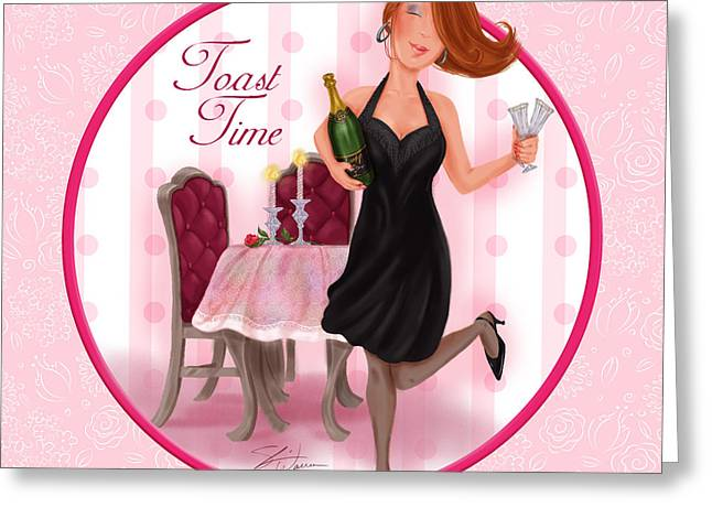 Cocktail Mixed Media Greeting Cards - Toast Time Greeting Card by Shari Warren