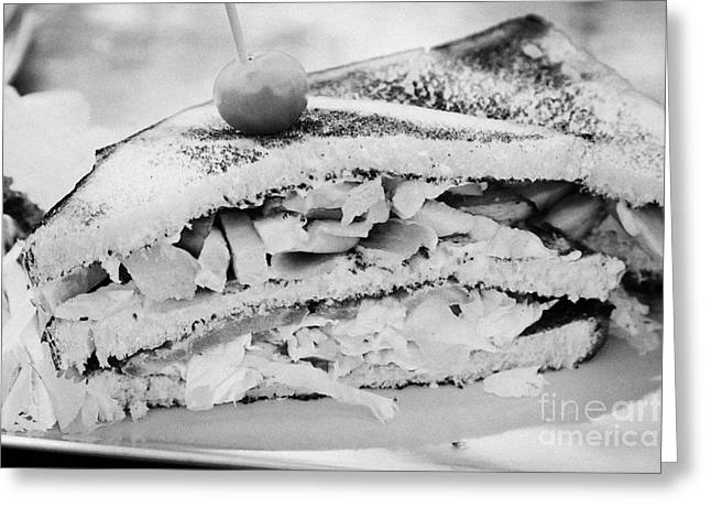 Toast Greeting Cards - Toasted Club Sandwich On A Plate Barcelona Catalonia Spain Greeting Card by Joe Fox