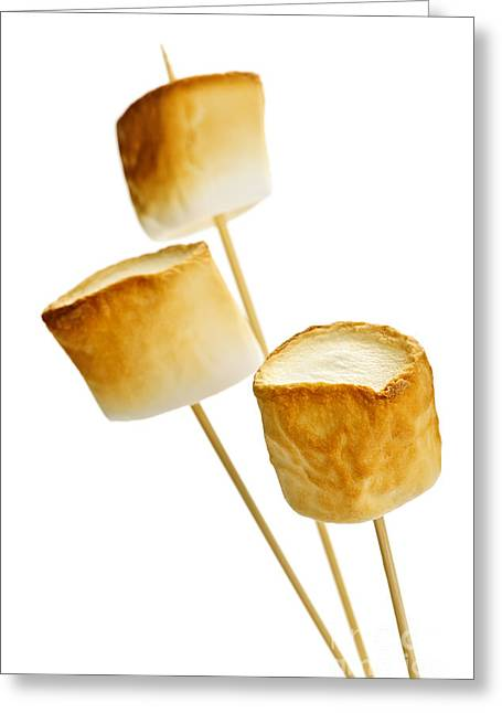 Roasting Greeting Cards - Toasted marshmallows Greeting Card by Elena Elisseeva