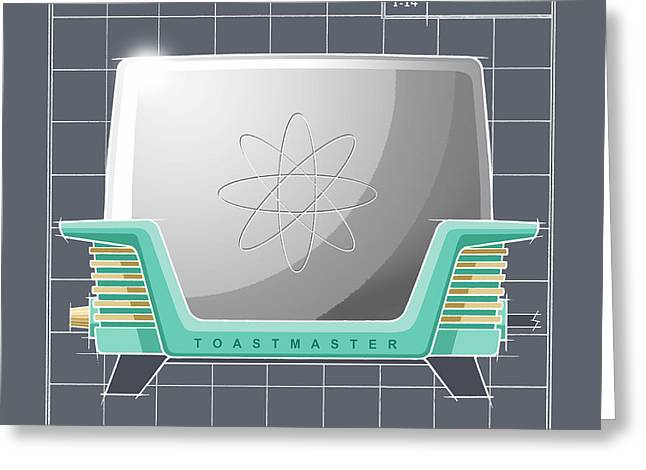 Toaster Drawings Greeting Cards - ToastMaster - aqua Greeting Card by Larry Hunter
