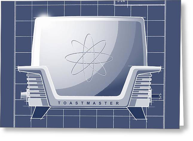 Toaster Drawings Greeting Cards - ToastMaster - blueprint Greeting Card by Larry Hunter