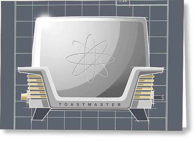 Toaster Drawings Greeting Cards - ToastMaster - pewter Greeting Card by Larry Hunter