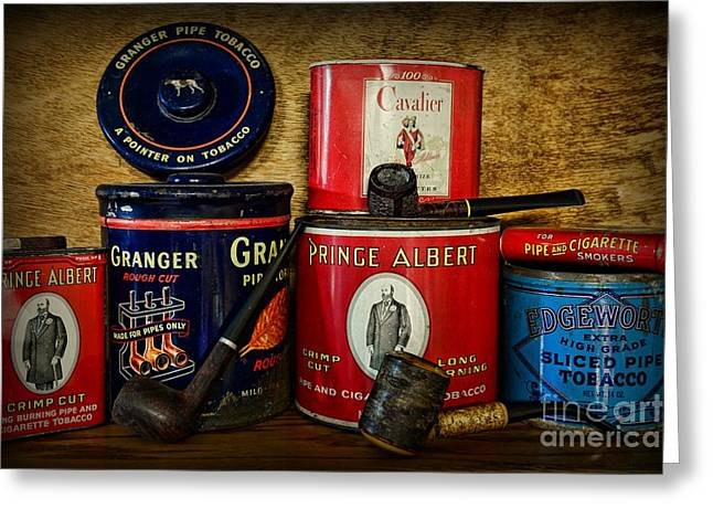 Lounge Photographs Greeting Cards - Tobacciana - Tobacco Tins Greeting Card by Paul Ward