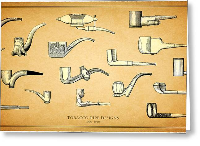 Cigarette Greeting Cards - Tobacco Pipe Designs 1900-30 Greeting Card by Mark Rogan