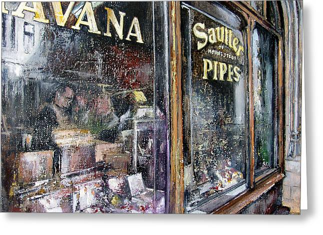 Tobacconist Greeting Cards - Tobacconists  Sautter of  Mount Street -London Greeting Card by Tomas Castano