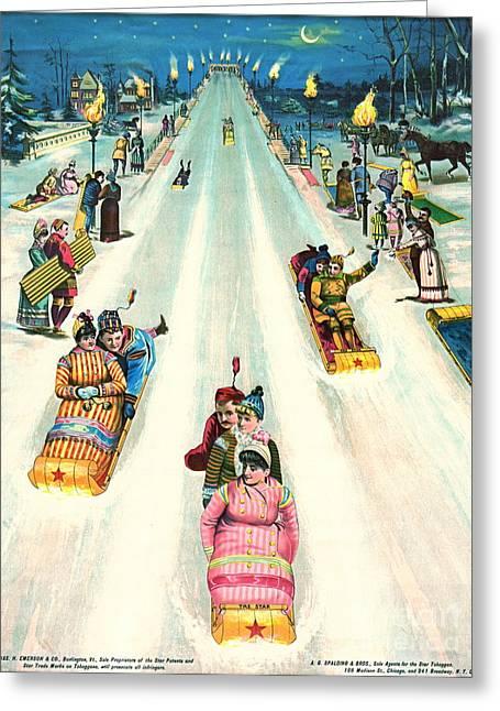 Tobogganing Greeting Cards - Toboggan Ad 1887 Greeting Card by Padre Art