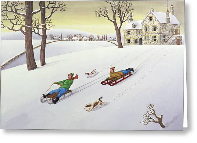 Sledge Photographs Greeting Cards - Tobogganing, 1986 Acrylic On Linen Greeting Card by Larry Smart