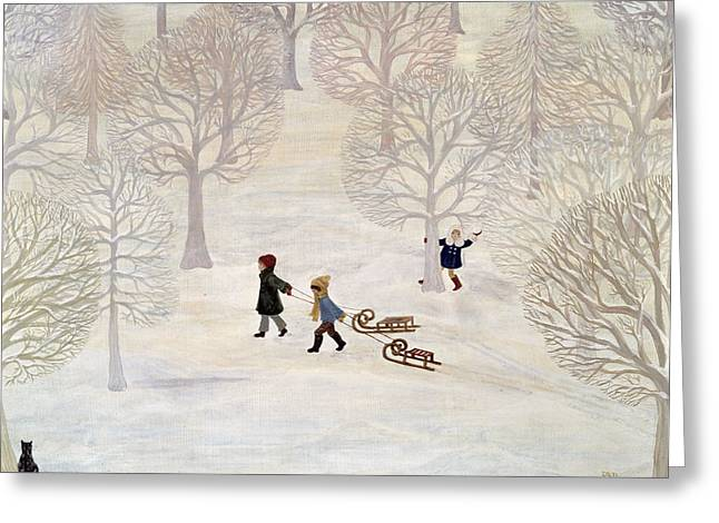 Sledge Greeting Cards - Tobogganing Greeting Card by Ditz
