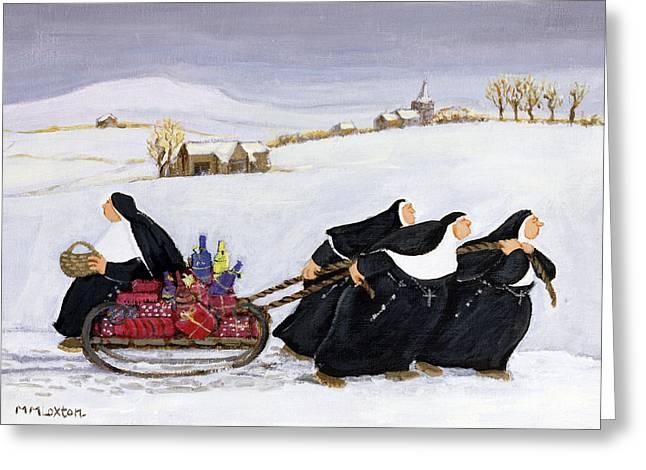 Burden Paintings Greeting Cards - Tobogganing Greeting Card by Margaret Loxton