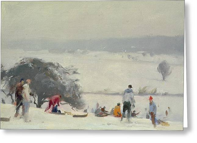 Sledge Photographs Greeting Cards - Tobogganing, The Meads, Hertford Oil On Canvas Greeting Card by Trevor Chamberlain