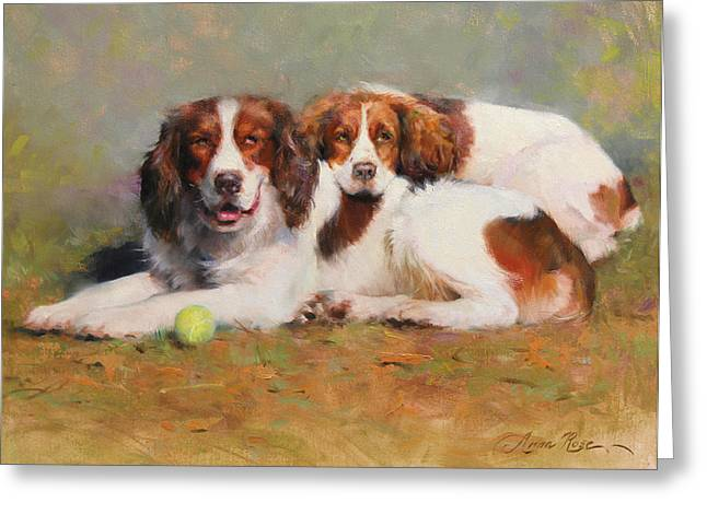 Dog With Tennis Ball Greeting Cards - Toby and Ellie Mae Greeting Card by Anna Bain