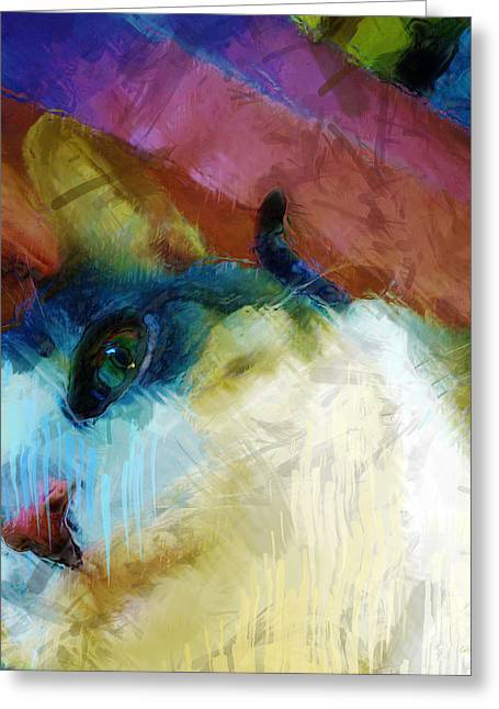 Moggy Greeting Cards - Toby Greeting Card by Carl Rolfe