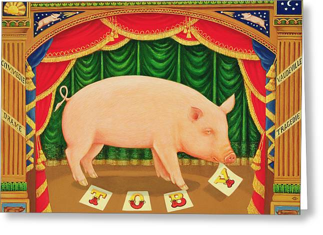 Theatre Photographs Greeting Cards - Toby The Learned Pig, 1998 Oil & Tempera On Panel Greeting Card by Frances Broomfield