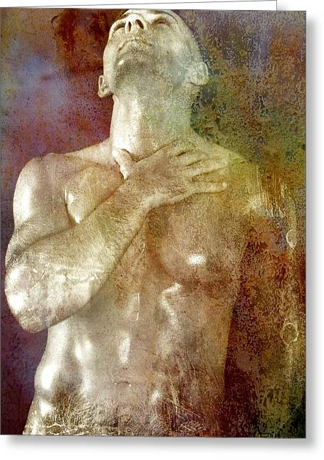 Hot Male Greeting Cards - Mystery Prayer Greeting Card by Mark Ashkenazi