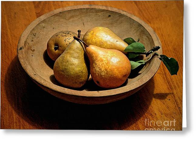 Today's Pears Greeting Card by Gwyn Newcombe