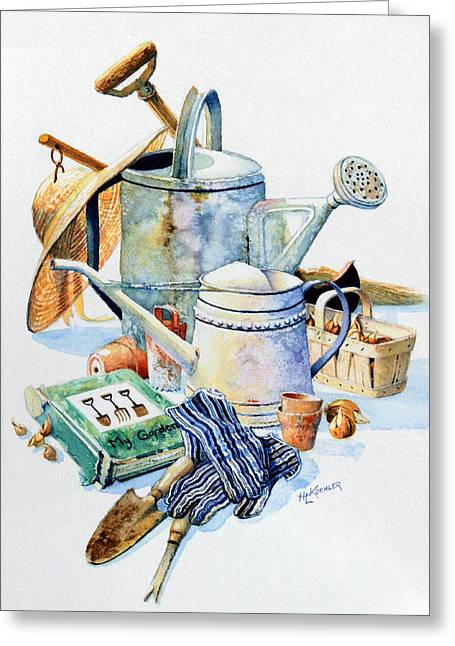 Garden Tools Greeting Cards - Todays Toil Tomorrows Pleasure I Greeting Card by Hanne Lore Koehler