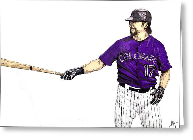 Todd Helton Greeting Cards - Todd Helton Greeting Card by Joshua Sooter