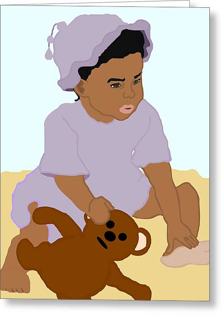 Child With Teddy Bear Greeting Cards - Toddler and Teddy Greeting Card by Pharris Art