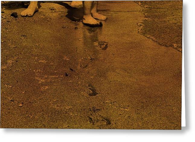 Footprints In The Sand Greeting Cards - Toddler Footprints In The Sand Greeting Card by Dan Sproul