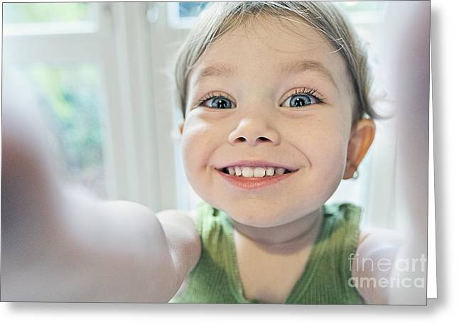 Self-portrait Photographs Greeting Cards - Toddler Selfie Greeting Card by Justin Paget