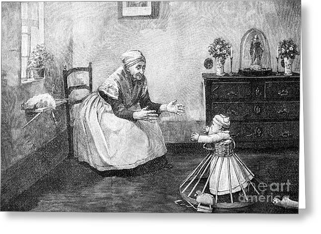 European Artwork Greeting Cards - Toddler Walking Aid, 1890s Greeting Card by Bildagentur-online