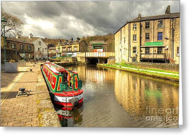 West Yorkshire Greeting Cards - Todmorden Wharf Greeting Card by Rob Hawkins