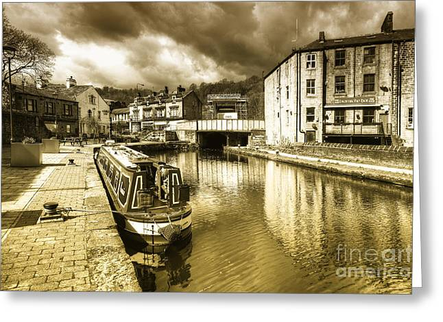 West Yorkshire Greeting Cards - Todmorden Wharf toned  Greeting Card by Rob Hawkins