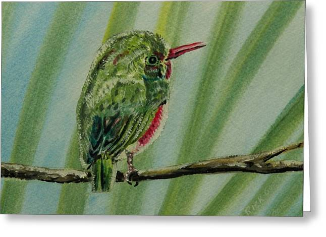 Seem Paintings Greeting Cards - Tody Bird on a Branch Greeting Card by Richard Goohs