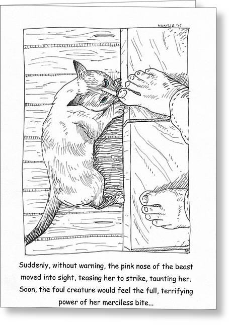 Cat Drawings Greeting Cards - Toe Beast Greeting Card by Steve Hunter