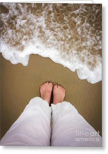 Concept Photographs Greeting Cards - Toes in the Sand Greeting Card by Diane Diederich