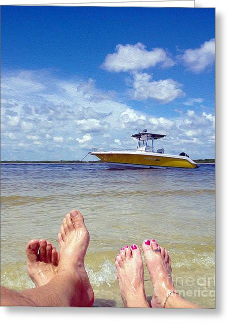 Boats In Water Mixed Media Greeting Cards - Toes in the Water Painting Greeting Card by Jon Neidert
