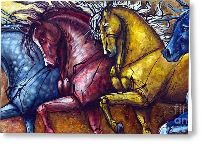 Contemporary Equine Greeting Cards - Together Again Greeting Card by Jonelle T McCoy
