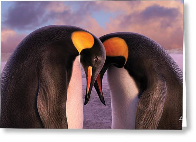 Penguins Greeting Cards - Together Greeting Card by Gary Hanna