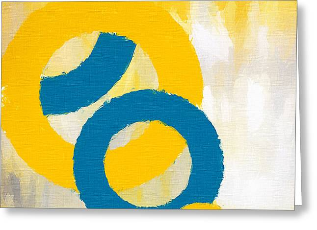 Blues And Yellows Greeting Cards - Together In Harmony Greeting Card by Lourry Legarde