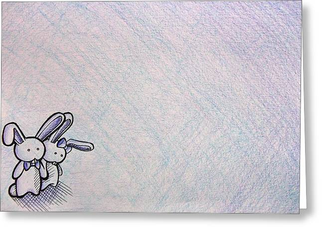 Crosshatching Greeting Cards - Together In the Middle of Nowhere Greeting Card by Lucy Loo Wales