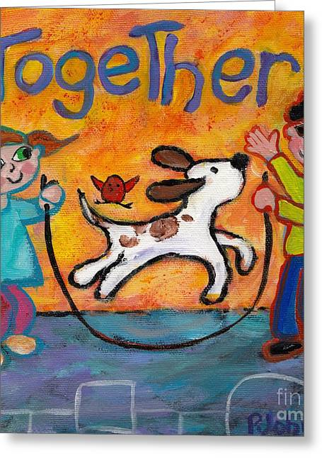 Hopscotch Greeting Cards - Together Greeting Card by Peggy Johnson