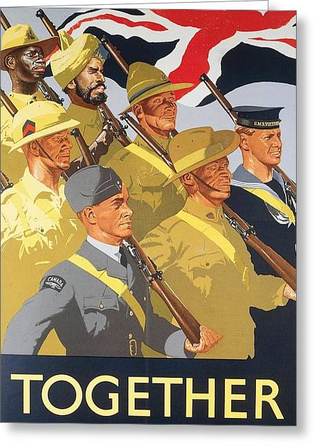 Uniform Drawings Greeting Cards - Together propaganda poster Greeting Card by Anonymous